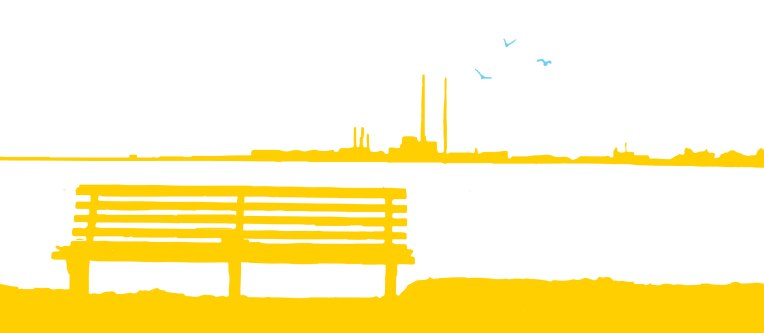Poolbeg-Chimneys-and-bench-Yellow-Blue-Birds